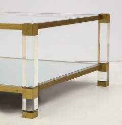 Pierre Vandel Two Tier Lucite and Brass Coffee Table - 2020827