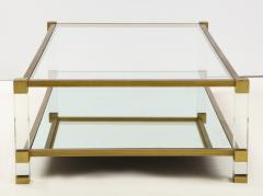 Pierre Vandel Two Tier Lucite and Brass Coffee Table - 2020831