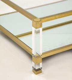 Pierre Vandel Two Tier Lucite and Brass Coffee Table - 2020833