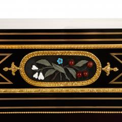 Pietra dura brass and ormolu mounted ebonised wood vitrine - 1516307