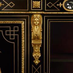 Pietra dura brass and ormolu mounted ebonised wood vitrine - 1516308