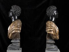 Pietro Calvi Pair of Marble Busts of Moors By Pietro Calvi in Belgium Black and Specimen Onyx - 1664736