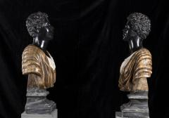Pietro Calvi Pair of Marble Busts of Moors By Pietro Calvi in Belgium Black and Specimen Onyx - 1664737