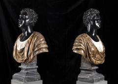 Pietro Calvi Pair of Marble Busts of Moors By Pietro Calvi in Belgium Black and Specimen Onyx - 1664738