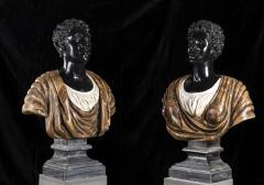 Pietro Calvi Pair of Marble Busts of Moors By Pietro Calvi in Belgium Black and Specimen Onyx - 1664739