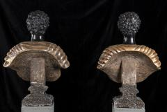 Pietro Calvi Pair of Marble Busts of Moors By Pietro Calvi in Belgium Black and Specimen Onyx - 1664740