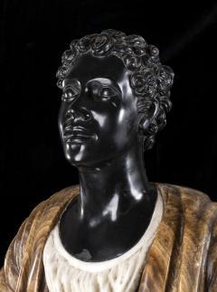 Pietro Calvi Pair of Marble Busts of Moors By Pietro Calvi in Belgium Black and Specimen Onyx - 1664742