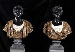 Pietro Calvi Pair of Marble Busts of Moors By Pietro Calvi in Belgium Black and Specimen Onyx - 1664744