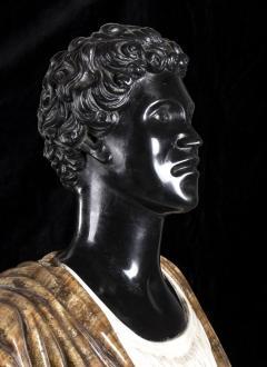 Pietro Calvi Pair of Marble Busts of Moors By Pietro Calvi in Belgium Black and Specimen Onyx - 1664745