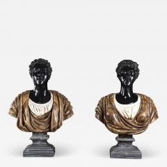 Pietro Calvi Pair of Marble Busts of Moors By Pietro Calvi in Belgium Black and Specimen Onyx - 1666690