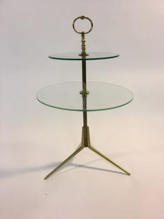 Pietro Chiesa Midcentury Glass and Brass Tripod Table attributed to Pietro Chiesa - 419871