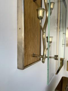Pietro Chiesa Pair of Brass and Wood Sconces Tree Frame Italy 1950s - 1948035