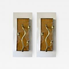 Pietro Chiesa Pair of Brass and Wood Sconces Tree Frame Italy 1950s - 1949950