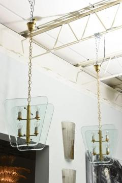 Pietro Chiesa Pair of Italian Modern Brass and Etched Glass Chandeliers Pendants Pietro Chiesa - 404017