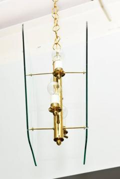 Pietro Chiesa Pair of Italian Modern Brass and Etched Glass Chandeliers Pendants Pietro Chiesa - 404018