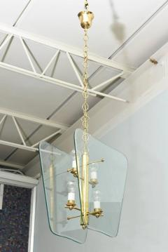Pietro Chiesa Pair of Italian Modern Brass and Etched Glass Chandeliers Pendants Pietro Chiesa - 404019