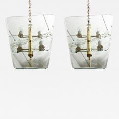 Pietro Chiesa Pair of Italian Modern Brass and Etched Glass Chandeliers Pendants Pietro Chiesa - 406811