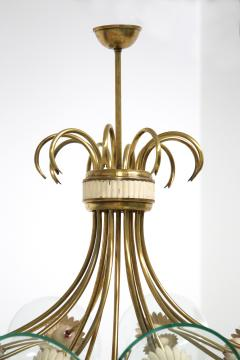 Pietro Chiesa Pietro Chiesa Rare Italian chandelier for Fontana Arte in brass and crystal 40 - 1576276