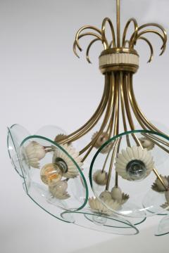 Pietro Chiesa Pietro Chiesa Rare Italian chandelier for Fontana Arte in brass and crystal 40 - 1576280