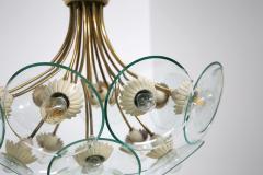 Pietro Chiesa Pietro Chiesa Rare Italian chandelier for Fontana Arte in brass and crystal 40 - 1576281