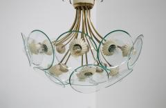 Pietro Chiesa Pietro Chiesa Rare Italian chandelier for Fontana Arte in brass and crystal 40 - 1576283