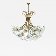Pietro Chiesa Pietro Chiesa Rare Italian chandelier for Fontana Arte in brass and crystal 40 - 1576857