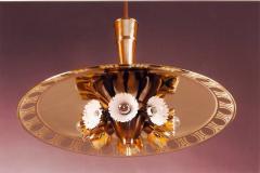 Pietro Chiesa Pietro Chiesa for Fontana Arte Amber Glass Chandelier 1940s - 293936