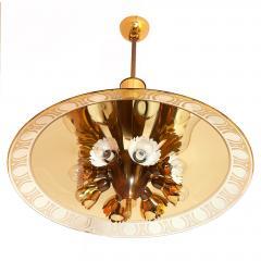 Pietro Chiesa Pietro Chiesa for Fontana Arte Amber Glass Chandelier 1940s - 294338