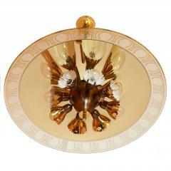 Pietro Chiesa Pietro Chiesa for Fontana Arte Amber Glass Chandelier 1940s - 294339
