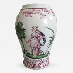 Pietro Leidi Sasuolo A Ceramic Vase with Polychrome Decoration of a Woman Between Palm Trees - 308390