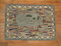 Pig Pictorial American Hooked Rug rug no r4951 - 1187731