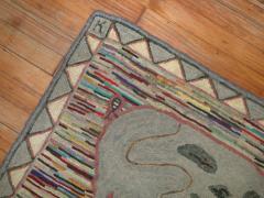 Pig Pictorial American Hooked Rug rug no r4951 - 1187732