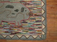 Pig Pictorial American Hooked Rug rug no r4951 - 1187733