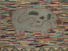 Pig Pictorial American Hooked Rug rug no r4951 - 1187736