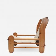 Pine Lounge Chair with Canvas Seating 1970s - 1483498