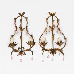 Pink Crystal Sconces - 1325979