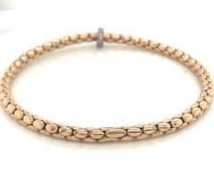 Pink Gold 18 K and White Gold Timeless Stretch Bracelet with diamonds - 1176449
