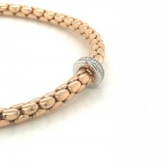 Pink Gold 18 K and White Gold Timeless Stretch Bracelet with diamonds - 1176451