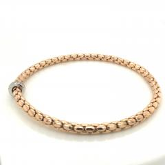 Pink Gold 18 K and White Gold Timeless Stretch Bracelet with diamonds - 1176453