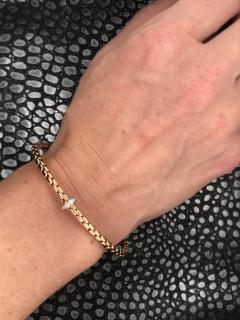 Pink Gold 18 K and White Gold Timeless Stretch Bracelet with diamonds - 1177285