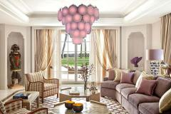 Pink Murano Glass Disc Chandelier Italy 1970s - 1701783