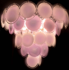 Pink Murano Glass Disc Chandelier Italy 1970s - 1701811