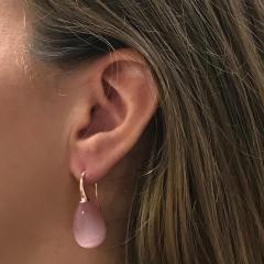 Pink Quartz and Rose Gold 18 Karat Drop Earrings - 1224550