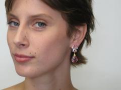 Pink Tourmaline Briolette Spinel and Diamond Earrings 18 Karat Gold - 1100156