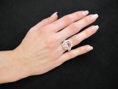 Pink Tourmaline and Diamond 18 Karat Yellow and White Gold Ring - 1100410
