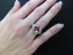 Pink Tourmaline and Diamond 18 Karat Yellow and White Gold Ring - 1100411