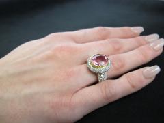 Pink Tourmaline and Diamond 18 Karat Yellow and White Gold Ring - 1100412