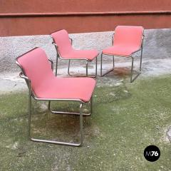 Pink and chromed steel chairs 1970s - 1936042