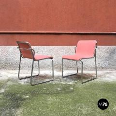 Pink and chromed steel chairs 1970s - 1936043