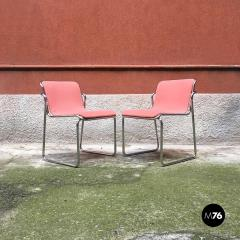 Pink and chromed steel chairs 1970s - 1936047